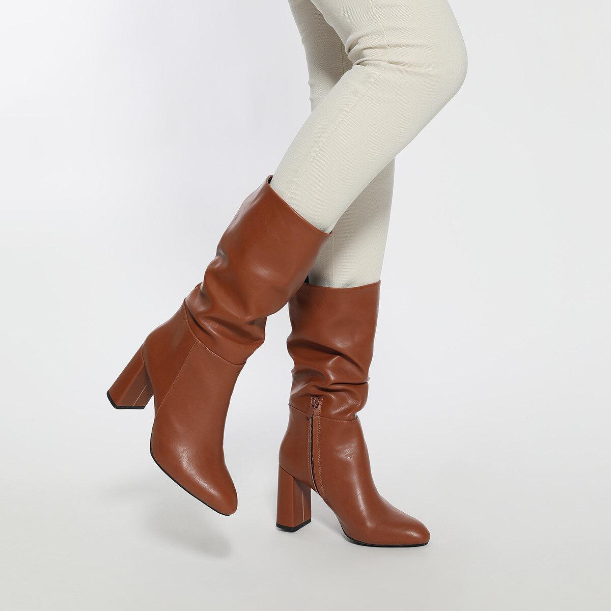 UMBRIA Taba Kadın Topuklu Çizme