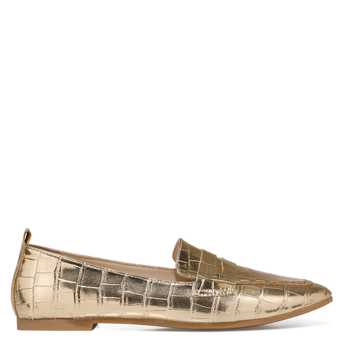 LEFUR2 Altın Kadın Loafer Ayakkabı