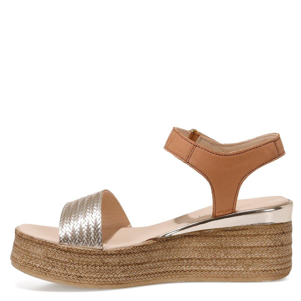 GARA Altın Kadın Dolgu Topuklu Sandalet