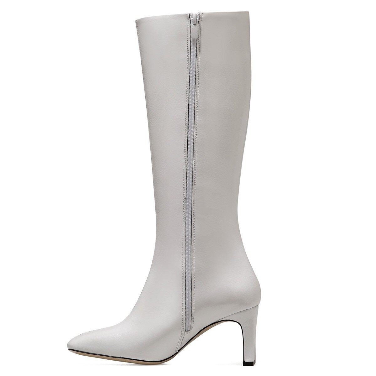 LAROSA Beyaz Kadın Topuklu Çizme