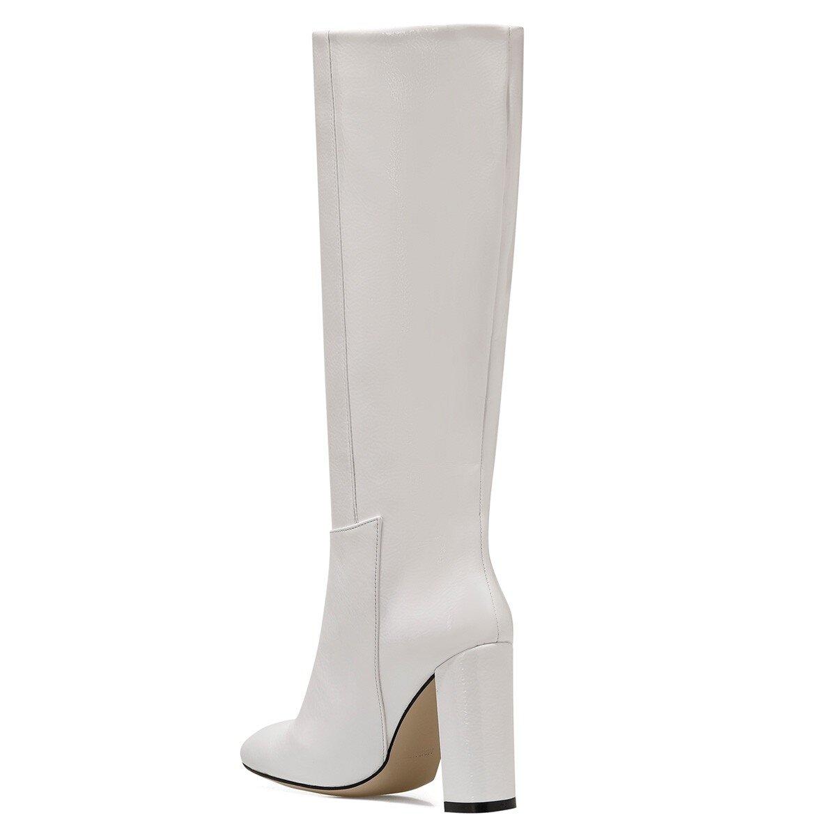 MIMA Beyaz Kadın Topuklu Çizme