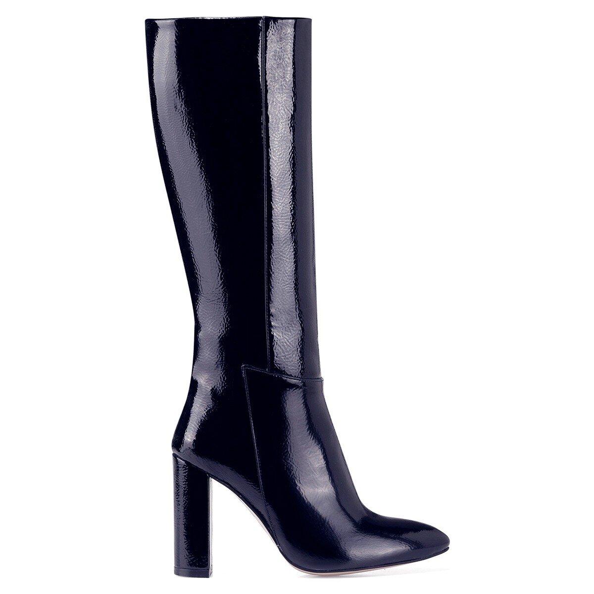 MIMA Lacivert Kadın Topuklu Çizme