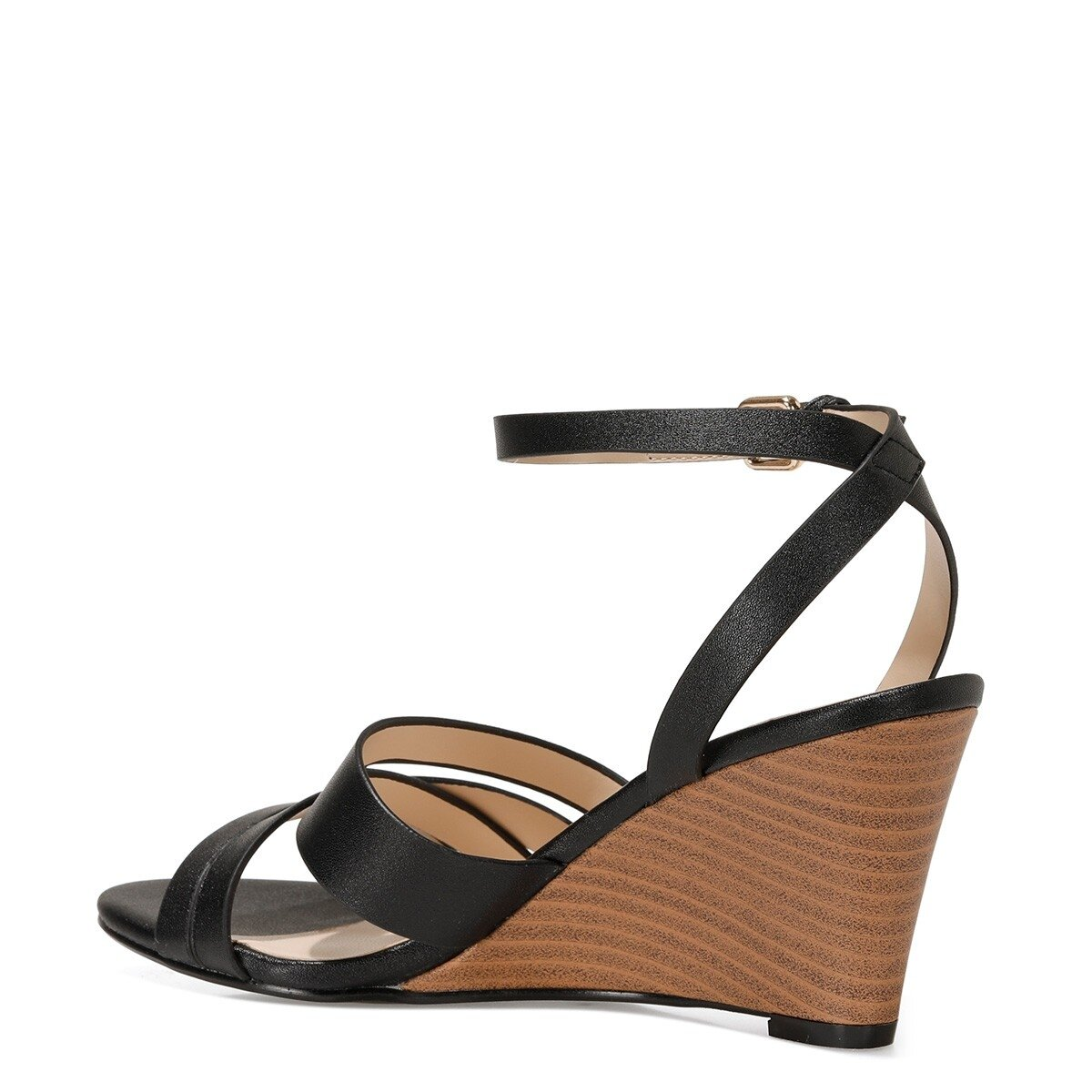 HAILI 1FX Siyah Kadın Dolgu Topuklu Sandalet