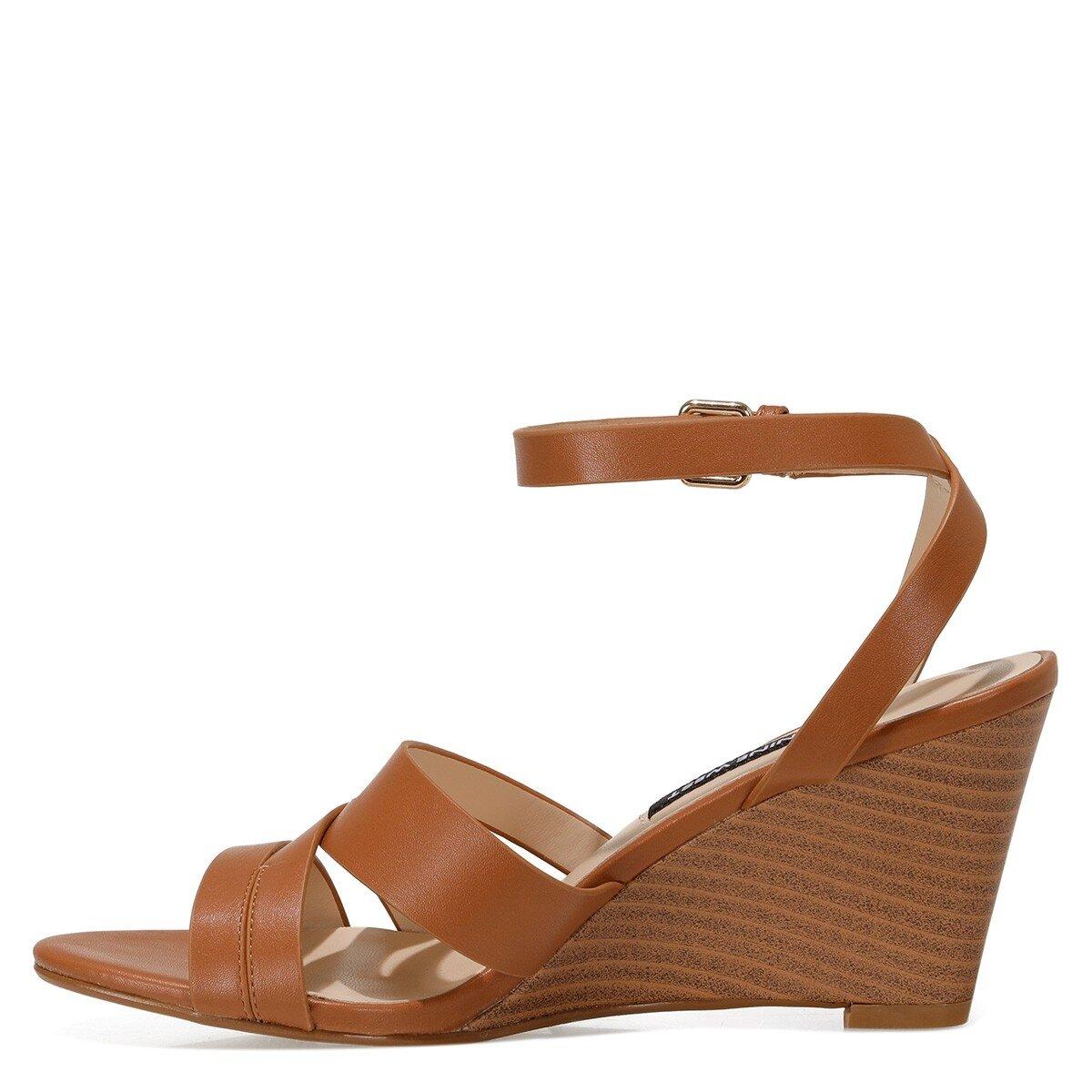 HAILI 1FX Taba Kadın Dolgu Topuklu Sandalet