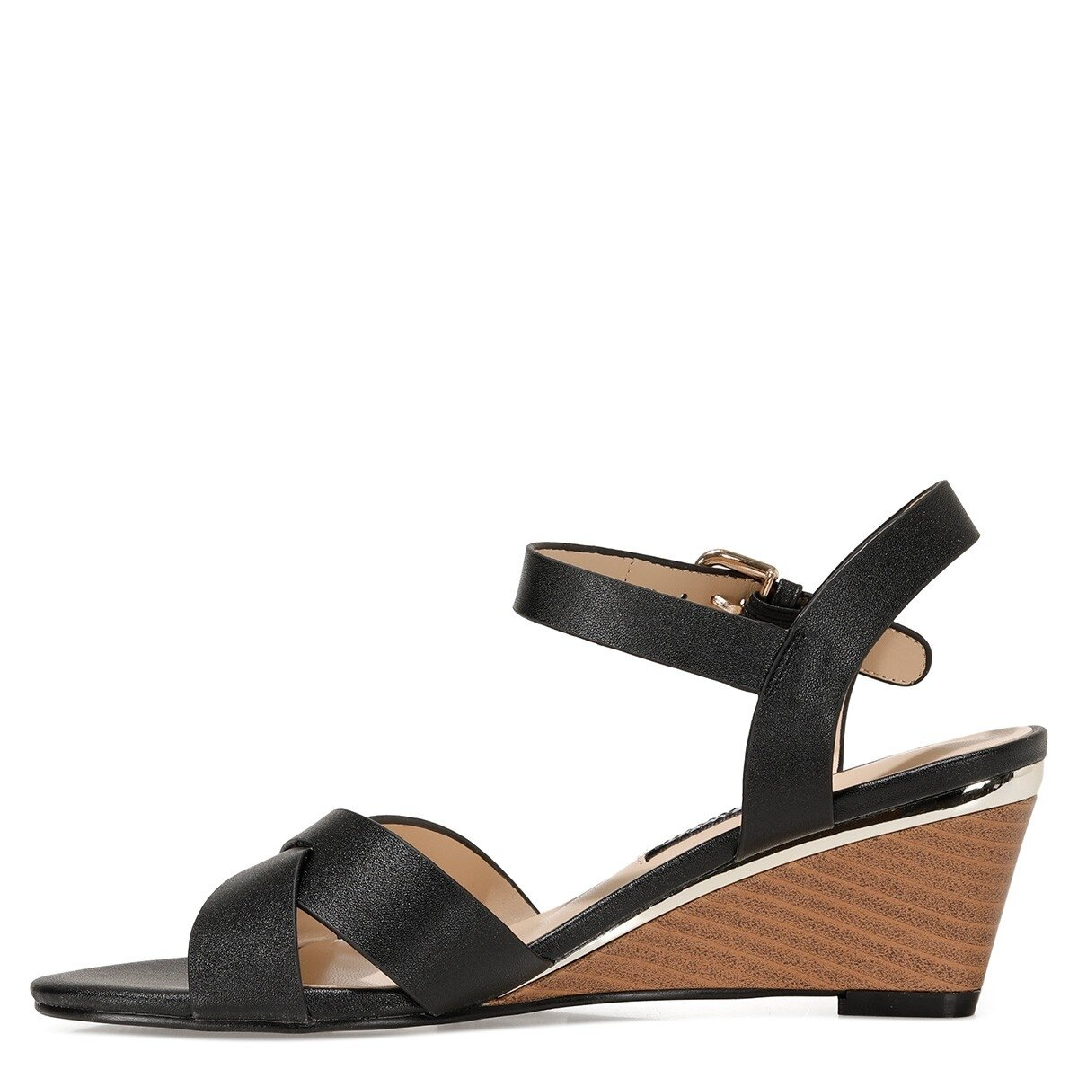 HEWELL 1FX Siyah Kadın Dolgu Topuklu Sandalet