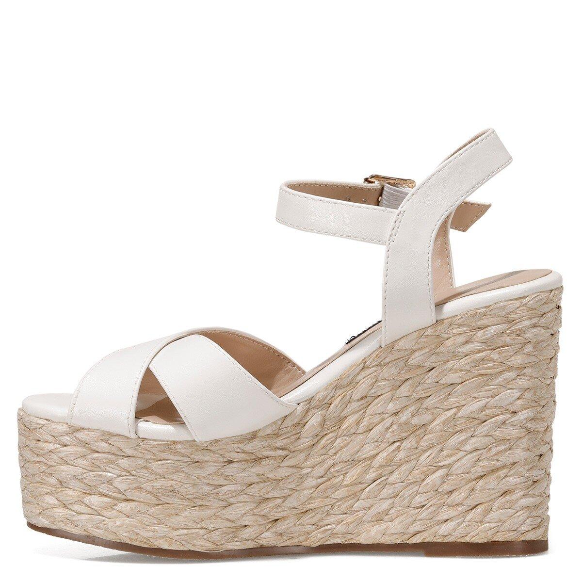 WIEMA 1FX Beyaz Kadın Dolgu Topuk Sandalet