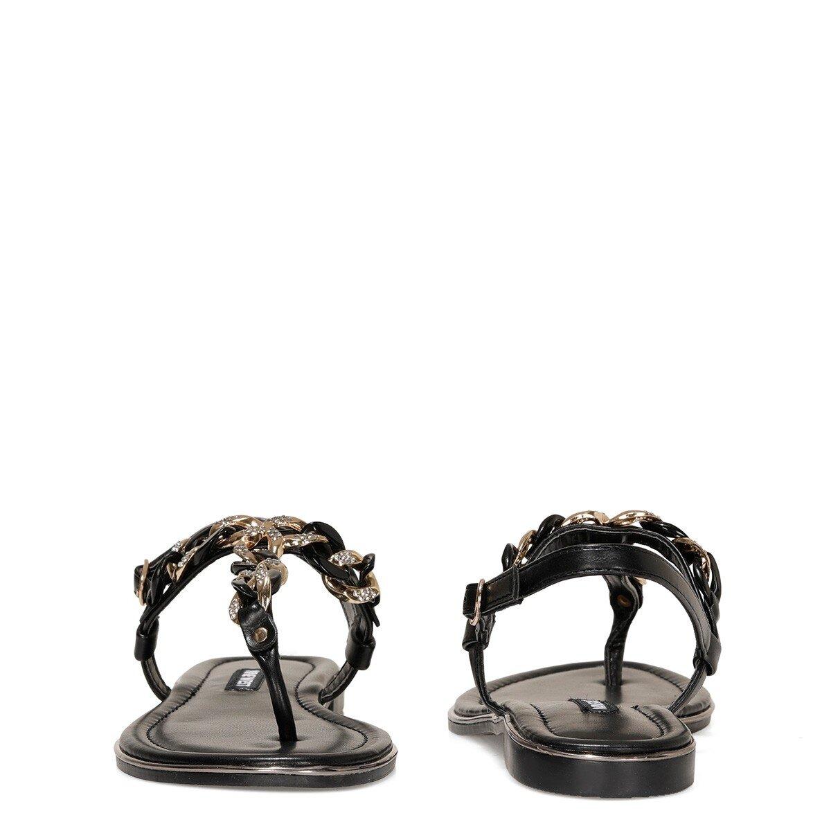 ZEONA 1FX Siyah Kadın Düz Sandalet