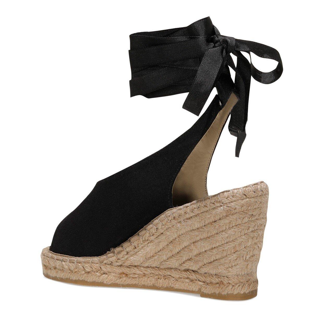 PAOLA 1FX Siyah Kadın Dolgu Topuklu Sandalet