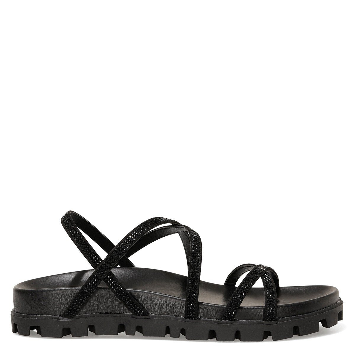 WADDA 1FX Siyah Kadın Düz Sandalet