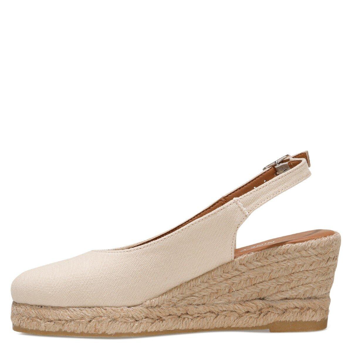 MERWILLA 1FX Bej Kadın Dolgu Topuk Sandalet