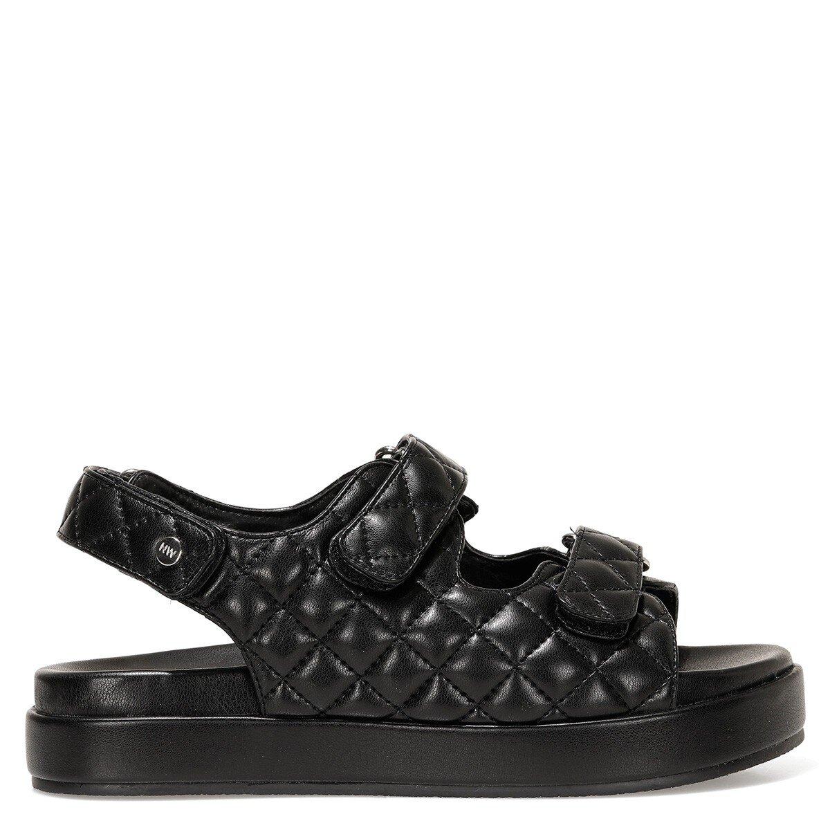 DONNA 1FX Siyah Kadın Kalın Taban Sandalet