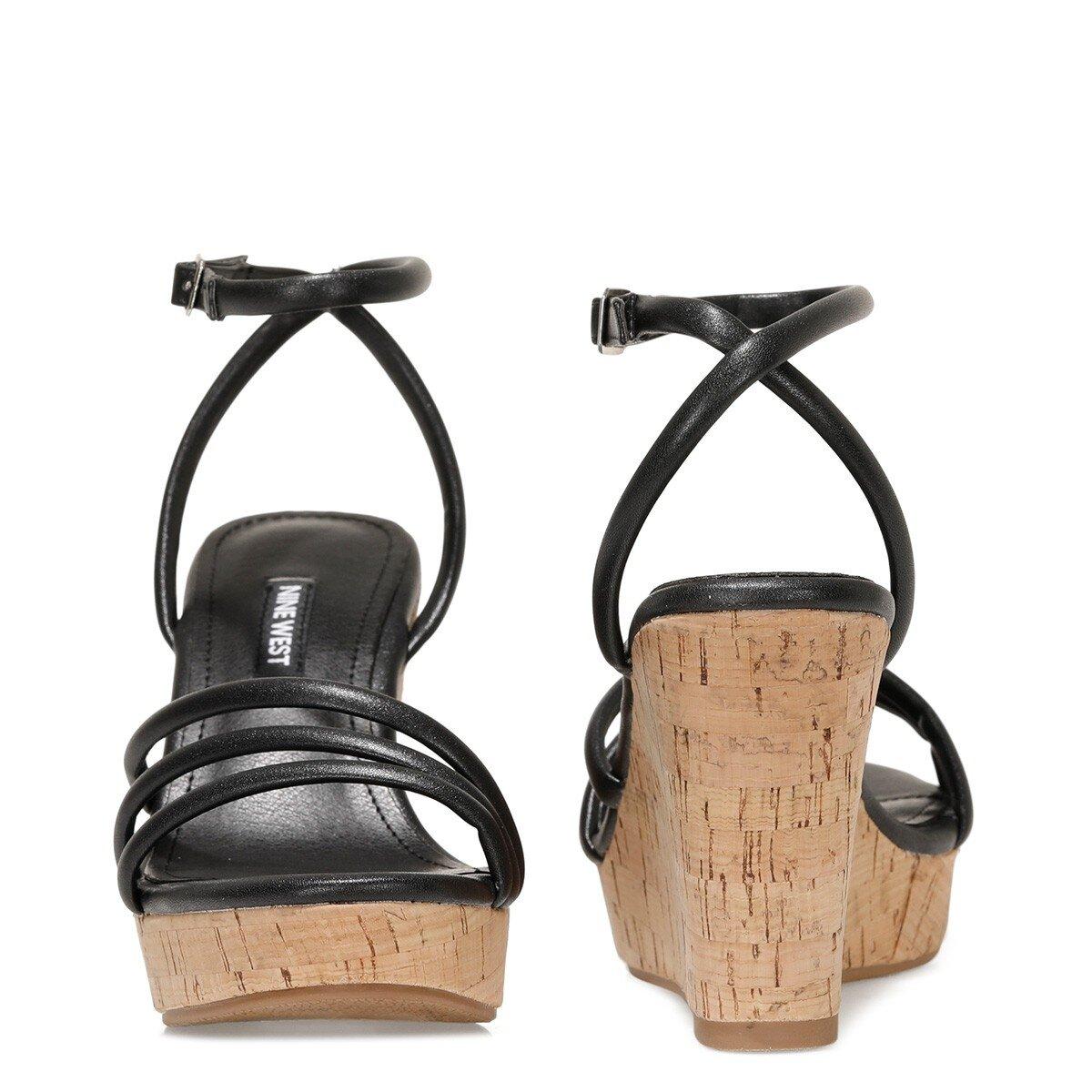 LEROYA 1FX Siyah Kadın Dolgu Topuklu Sandalet