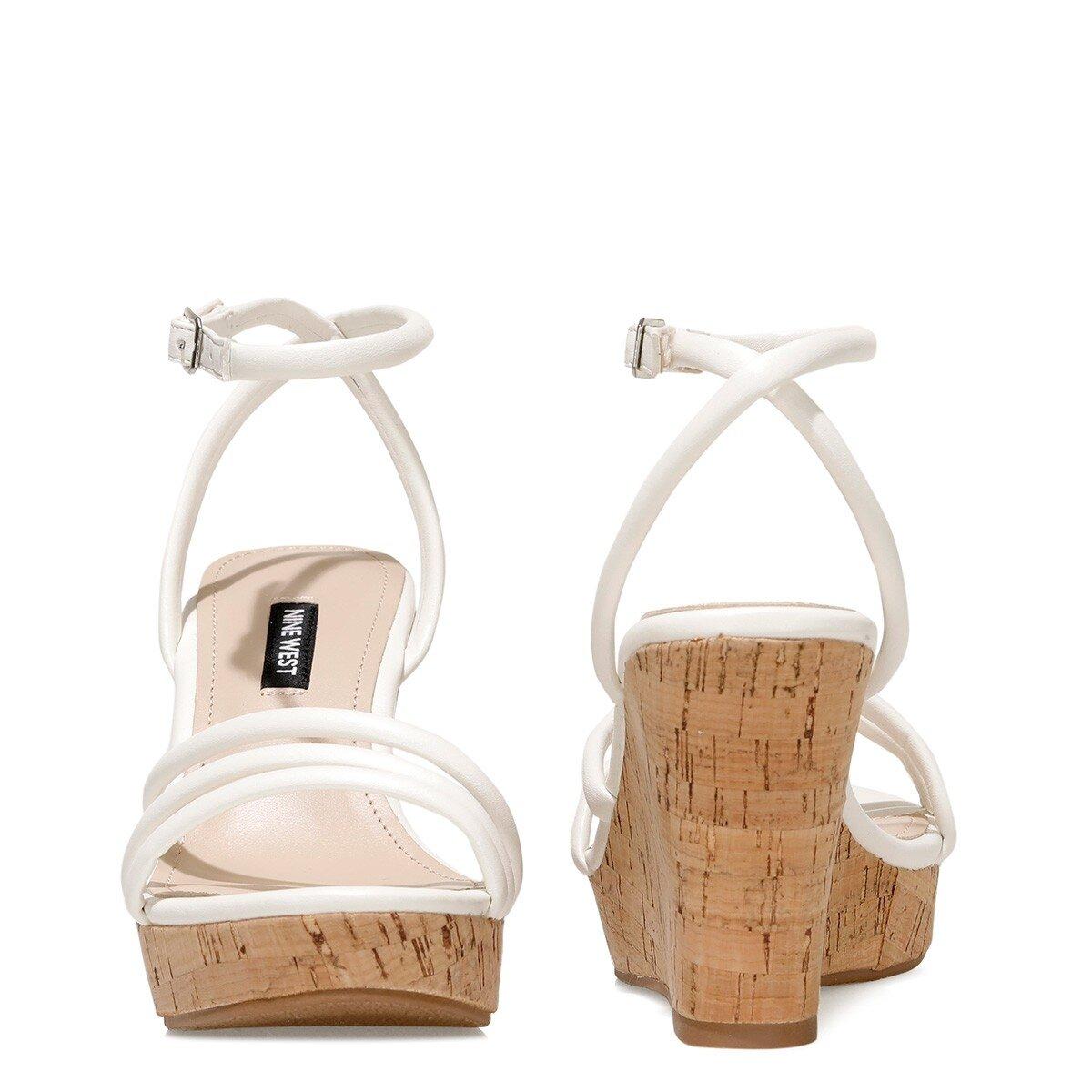 LEROYA 1FX Beyaz Kadın Dolgu Topuklu Sandalet