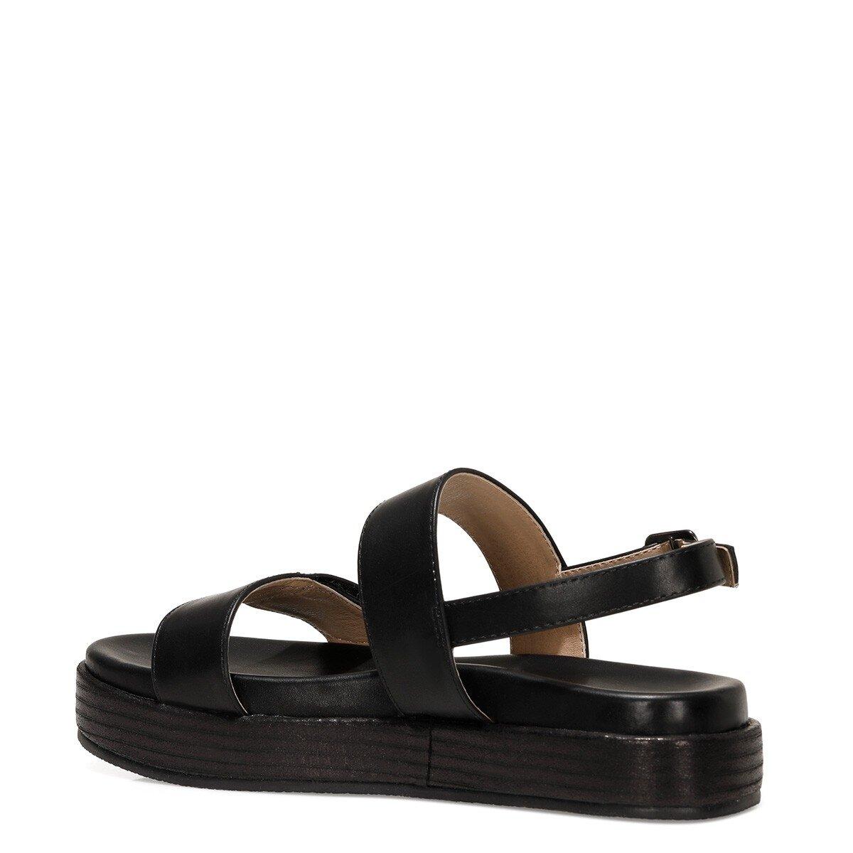 POPPY 1FX Siyah Kadın Kalın Taban Sandalet