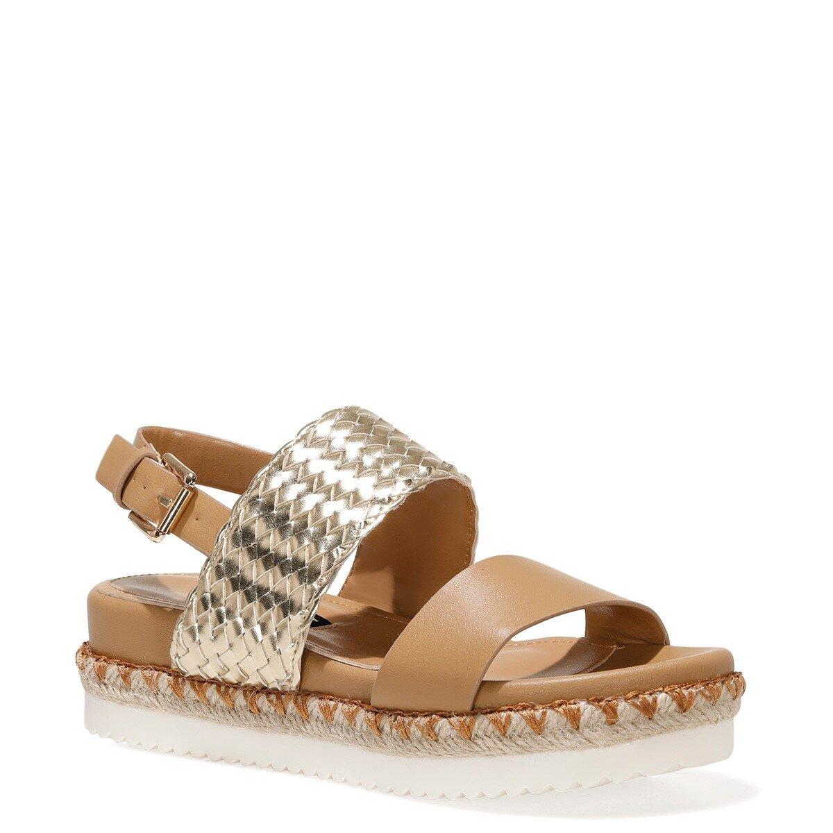 BROWNI 1FX Camel Kadın Kalın Tabanlı Sandalet