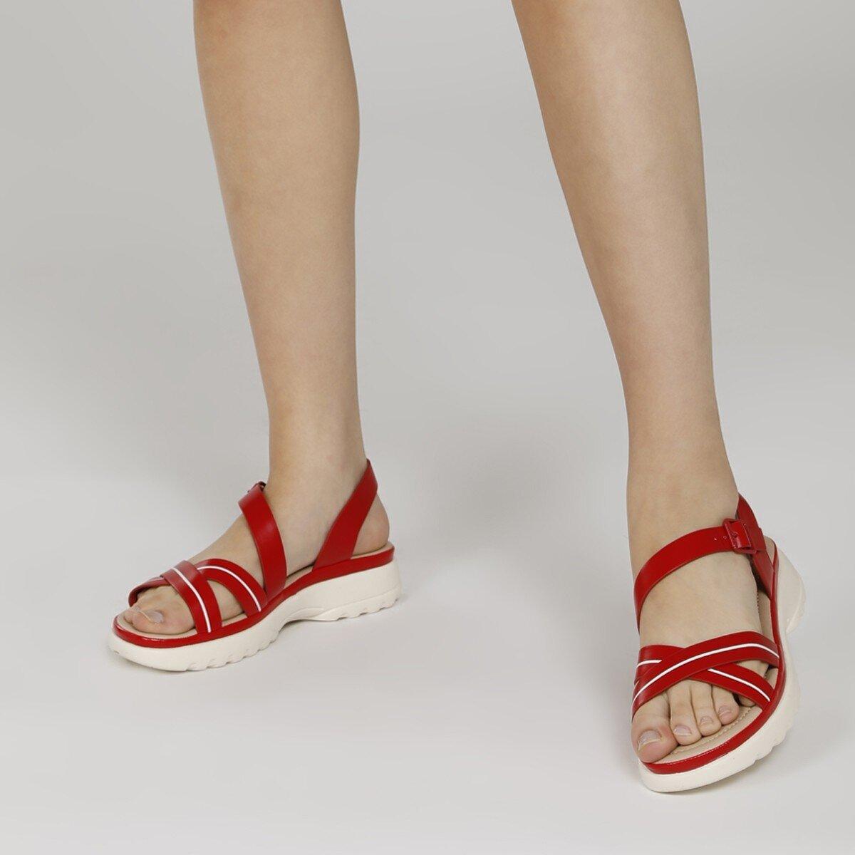 ABILANIEL 1FX Kırmızı Kadın Kalın Taban Sandalet
