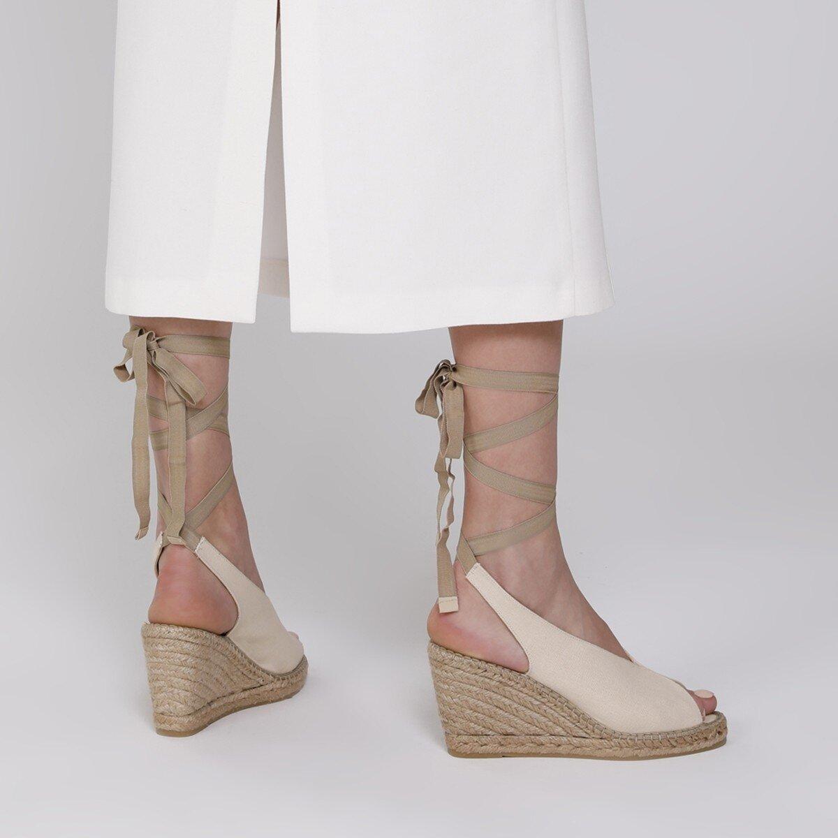 PAOLA 1FX Bej Kadın Dolgu Topuk Sandalet