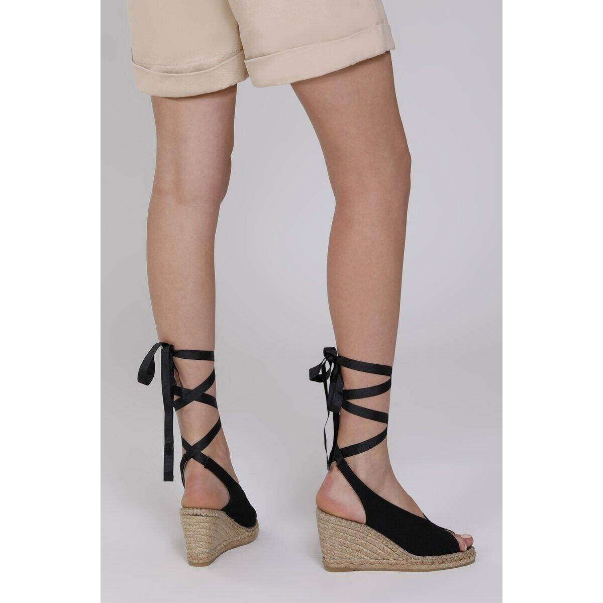 PAOLA 1FX Siyah Kadın Dolgu Topuk Sandalet
