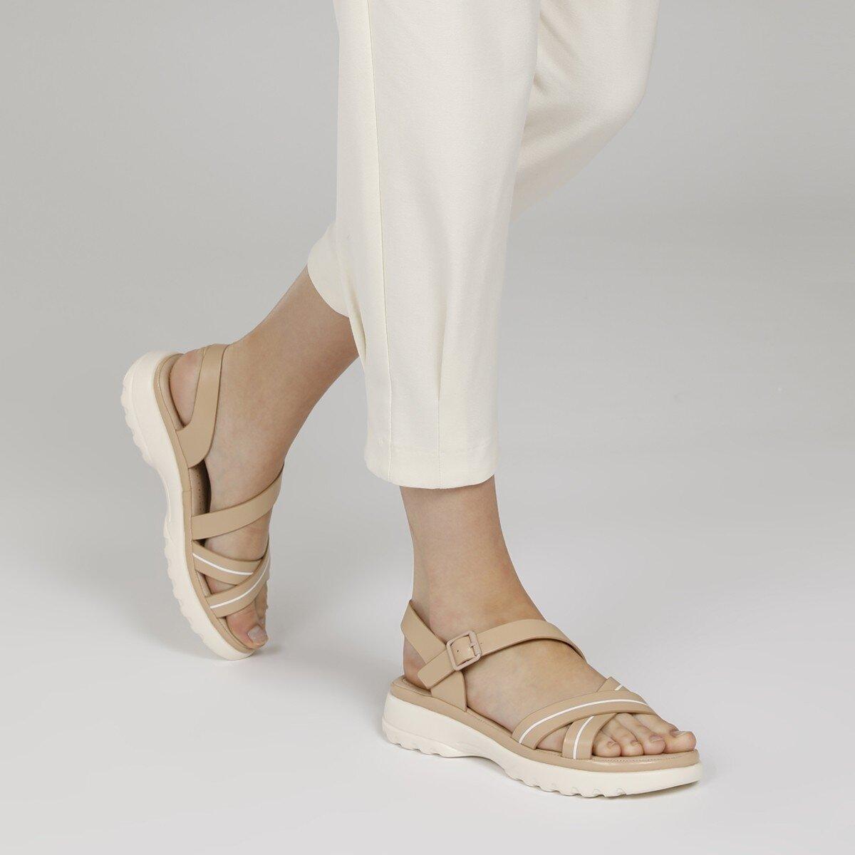 ABILANIEL 1FX Bej Kadın Kalın Taban Sandalet