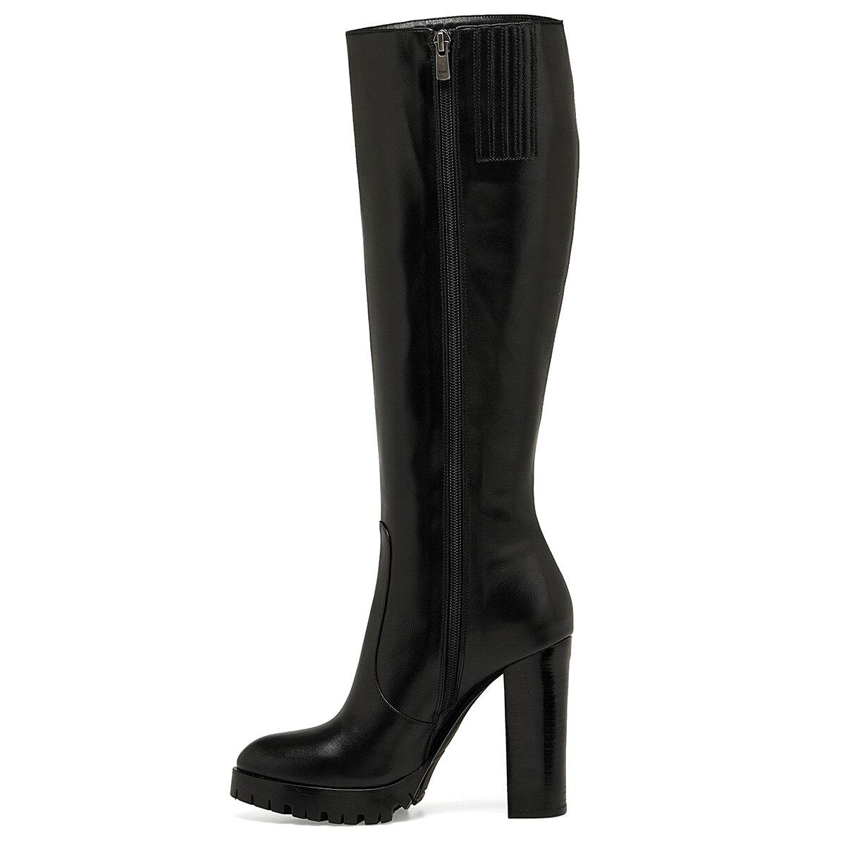 NINA Siyah Kadın Topuklu Çizme
