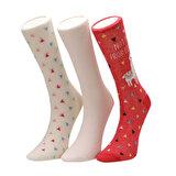 Miss F PROBLAMA 3 LU SKT-W Açık Kırmızı Kadın Soket Çorap