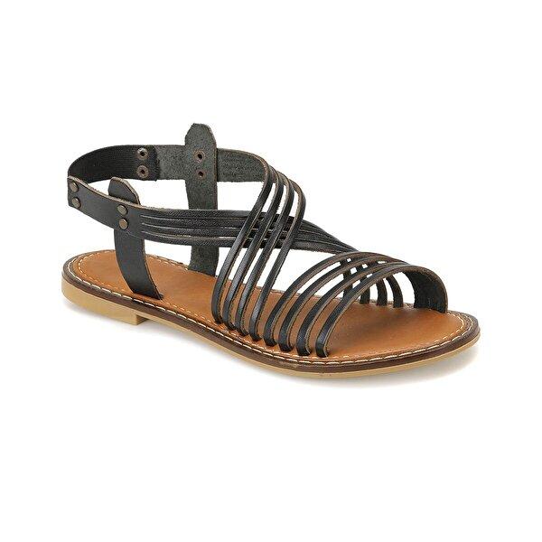 Miss F DS18125 Siyah Kadın Düz Sandalet