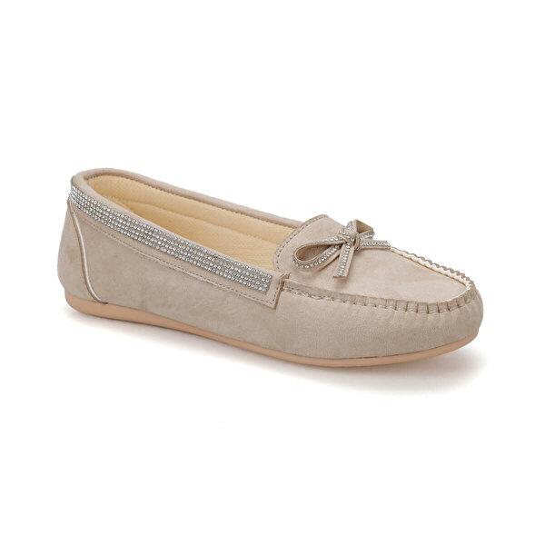 Miss F DS19034 Bej Kadın Loafer Ayakkabı
