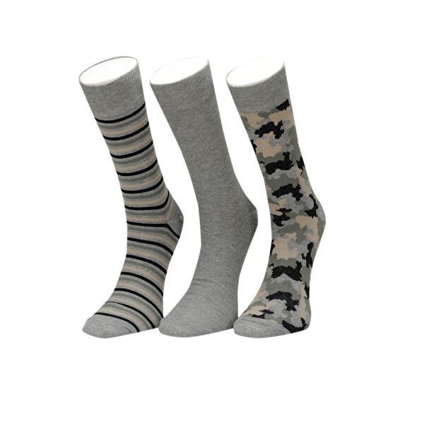 Garamond KAMUFLAJ 3 LU SKT-M YESIL MULTI Erkek Soket Çorap