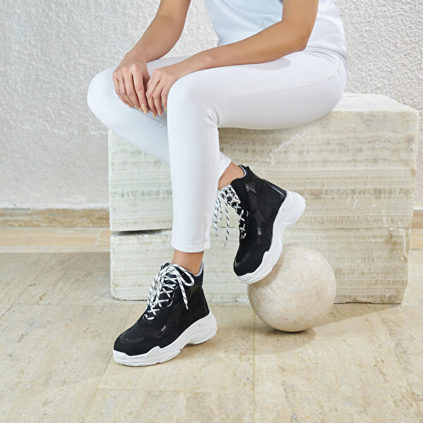 Butigo ELLESMERE85Z SÜET Siyah Kadın Sneaker Ayakkabı