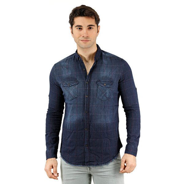 Phazz Brand 6065 Mavi Erkek Uzun Kol Gömlek
