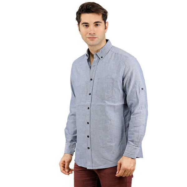 Phazz Brand B3014 Mavi Erkek Uzun Kollu Gömlek