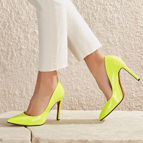 Butigo LELA99Z CİLT Neon Sarı Kadın Stiletto