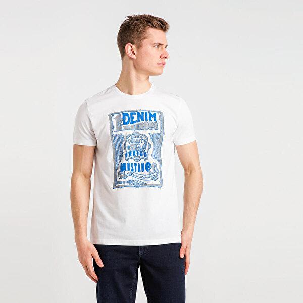 Mustang 04-M00099-200 Beyaz Erkek Kısa Kol T-Shirt