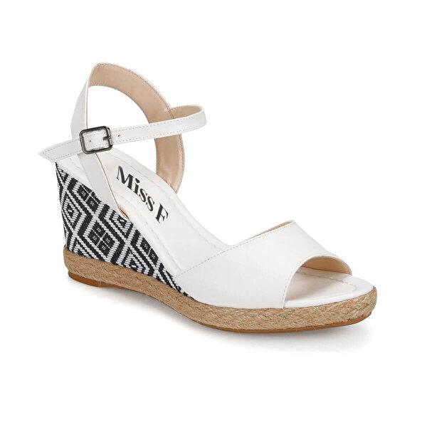 Miss F DS18131 Beyaz Kadın Dolgu Topuklu Sandalet