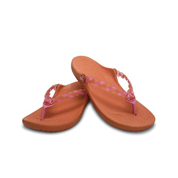 Crocs TRANSLUCENT WEAVE FLIP GI Turuncu Kız Çocuk Plaj Terliği