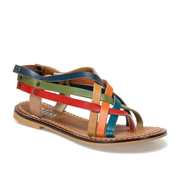 Miss F DS18126 Çok Renkli Kadın Düz Sandalet