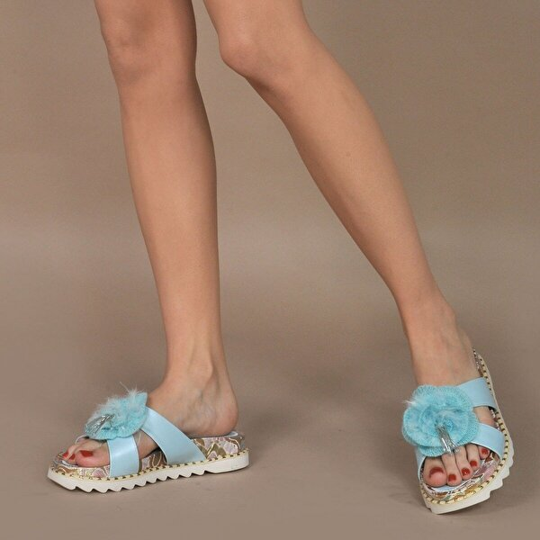 Vizon Ayakkabı Kadın  Mavi Terlik VZN20-156Y