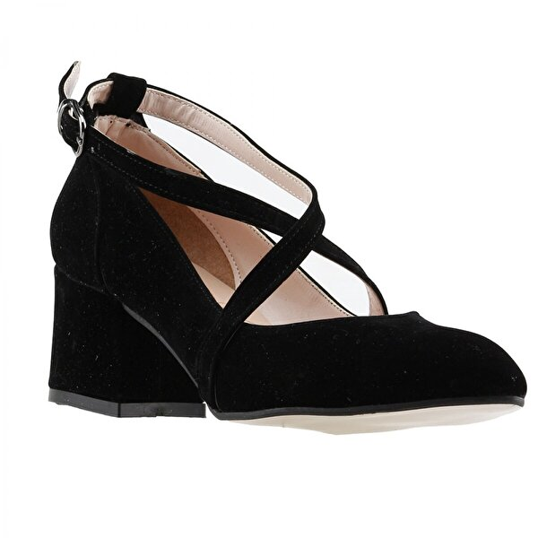 Ayakland 544-1121 Süet Babet 5 Cm Topuk Bayan Sandalet Ayakkabı SİYAH