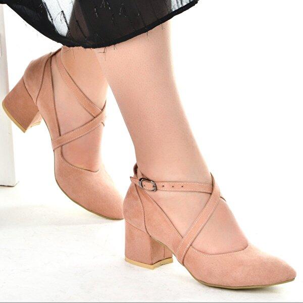 Ayakland 544-1121 Süet Babet 5 Cm Topuk Bayan Sandalet Ayakkabı Pudra