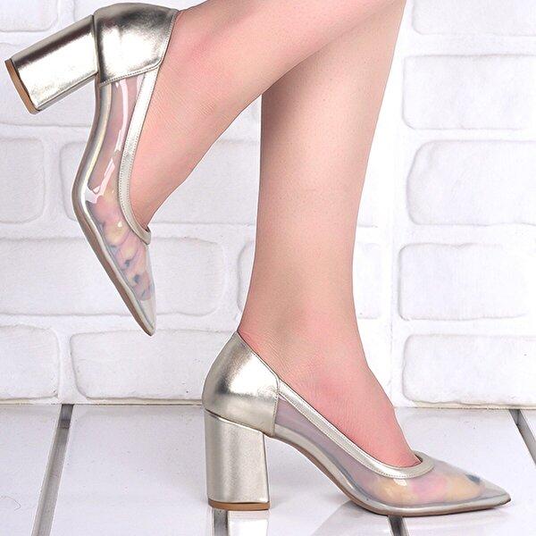 Ayakland 1019 Cilt Şeffaf 7 Cm Topuk Bayan Topuklu Ayakkabı ALTIN