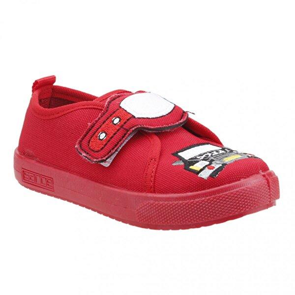 SANBE 106P 106 Okul Kreş Işıklı Erkek Çocuk Keten Panduf Ayakkabı KIRMIZI