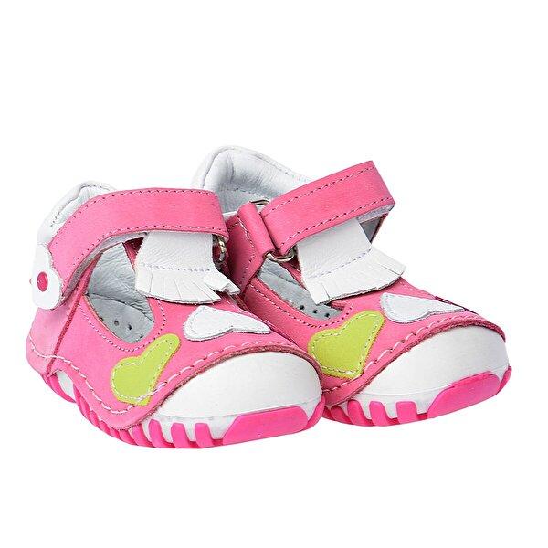Kiko Kids Teo 105 %100 Deri Ortopedik Cırtlı Kız Çocuk Ayakkabı Pembe