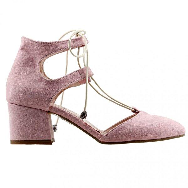 AYAKLAND 544-348 Günlük 5 Cm Topuk Bayan Süet Sandalet Ayakkabı Pudra
