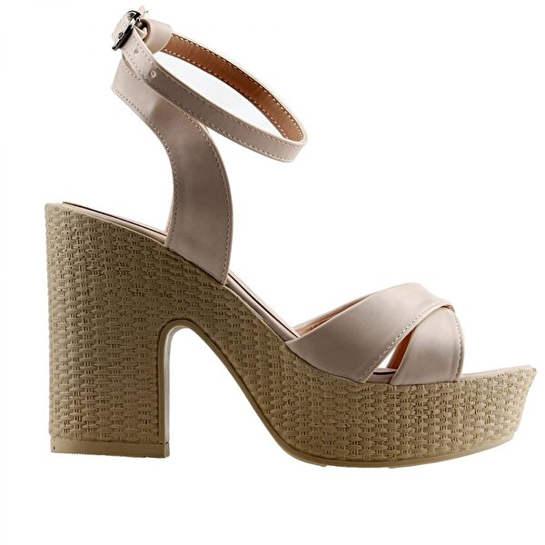 Ayakland 15136-1184  10 Cm Topuk Bayan Cilt Sandalet Ayakkabı TEN