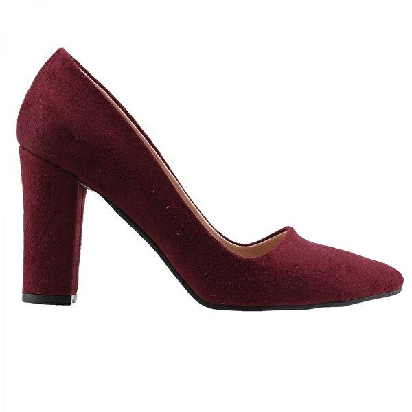 Ayakland 137029-311 Süet Günlük 8 Cm Topuk Bayan Ayakkabı BORDO