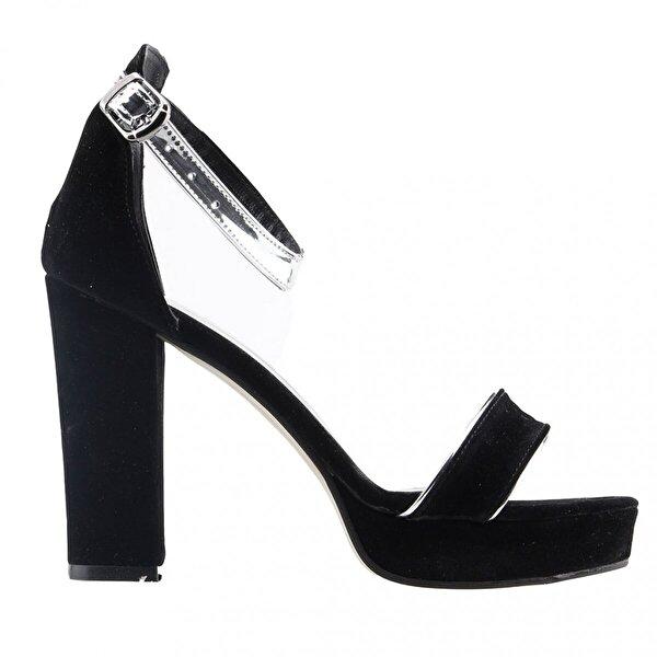 Ayakland 1605-1166 Günlük 10 Cm Topuk Bayan Süet Klasik Ayakkabı SİYAH