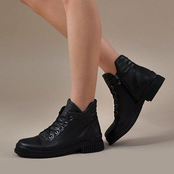 Vizon Ayakkabı Kadın  Siyah-Haki Bot VZN19-042K
