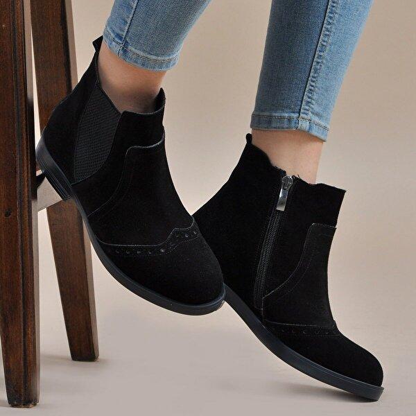 Vizon Ayakkabı Kadın  Siyah-Süet Bot VZN19-140K