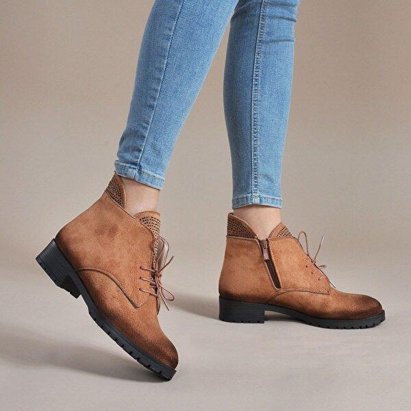 Vizon Ayakkabı Kadın  Taba-Süet Bot VZN19-043K