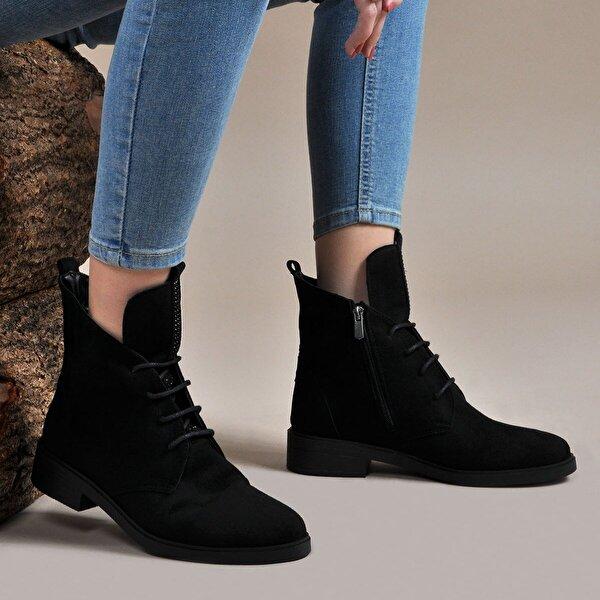 Vizon Ayakkabı Kadın  Siyah-Süet Bot VZN19-047K